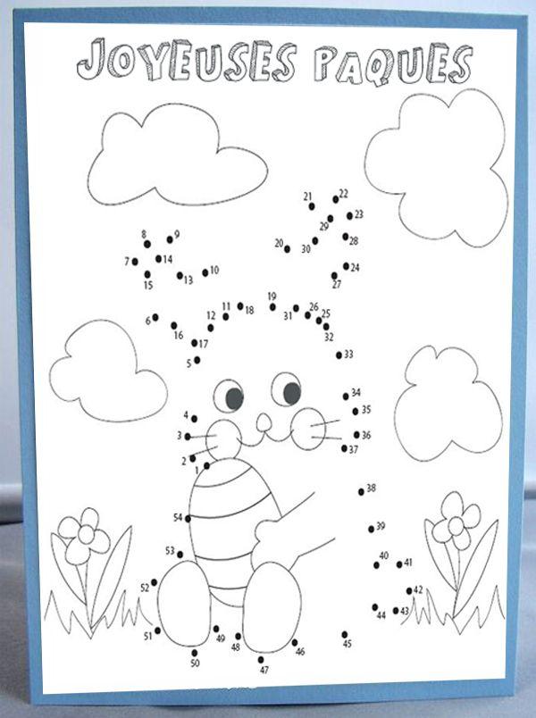 """Imprimez cette carte de Pâques, à la fois un jeu, à la fois un coloriage et jolie manière de souhaiter """"Joyeuses Pâques"""" autour de vous !"""