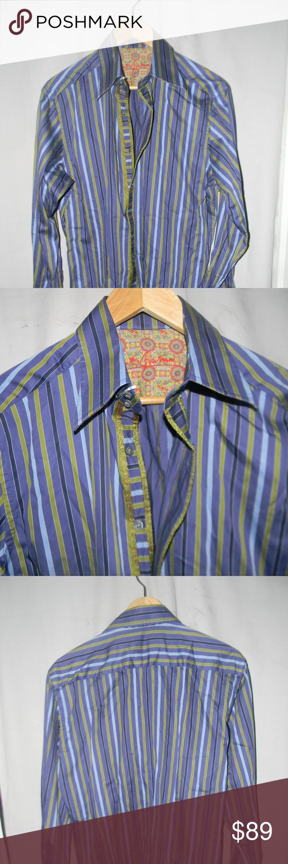 New Robert Graham Button Down Shirt New without tags a cotton purple green striped button down shirt Robert Graham Shirts