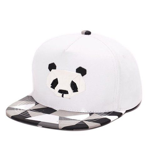 King Star Men Solid Flat Bill Hip Hop Snapback Baseball Cap Panda-White