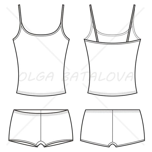 Front and back fashion sketch of women's underwear including tank top with spaghetti straps and boy short boxer.