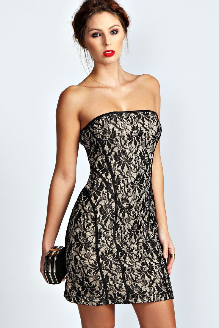 Graceful Women Bandeau Lace Bodycon Dress