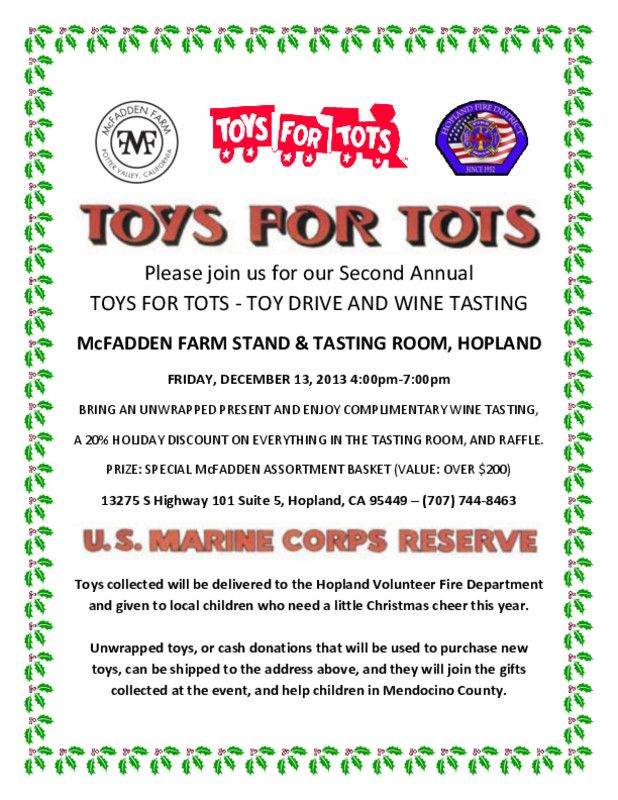 Toys For Tots Sign Up : Hopland ca join us after work for a special toys tots