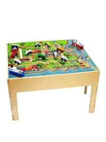 AnatexCity Transportation Table$167 Gilt   $280   The excitement of city travel is brought alive in the City Transportation Table. Little ones will enjoy moving the cars around the tabletop, while trying to avoid any collisions. The table features 12 separate wooden pieces that kids can move around tracks, so they will never get bored.  The table is large enough that several children can play together, encouraging interaction. It also promotes hand-eye coordination and hones fine motor…