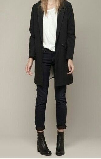 coat + skinny jeans + ankle boots