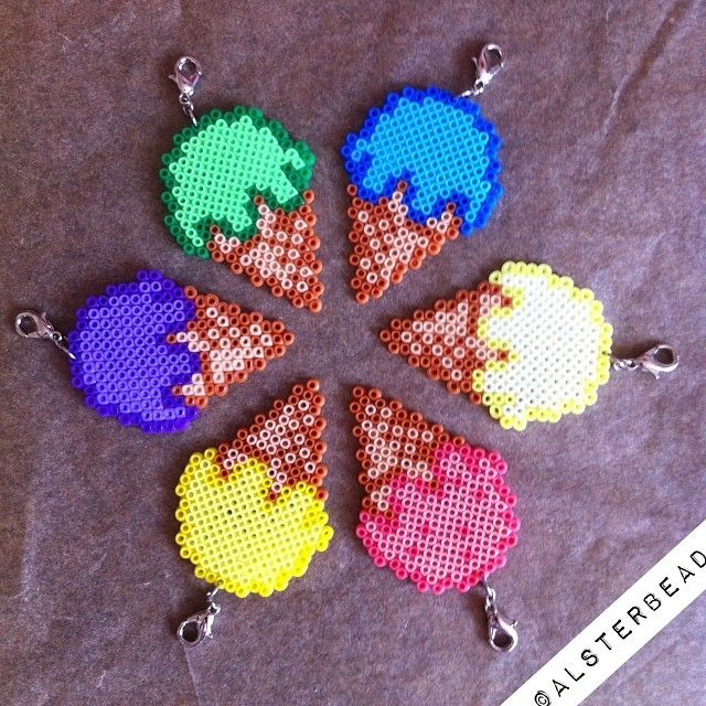 Ice cream charms hama mini beads by alsterbead