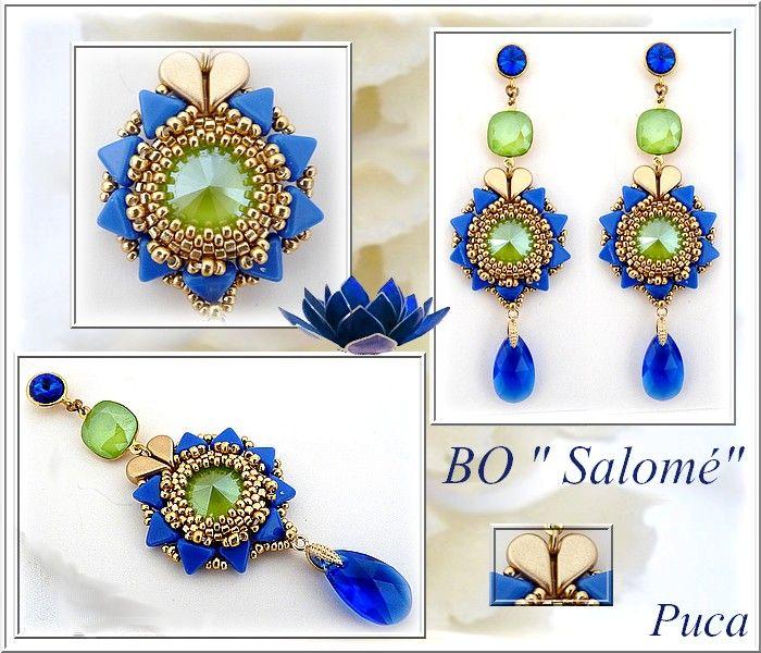 66ce1d53c2ec pendientes joyas tutorial Salome con cristal de Swarovski cabujón majestuosa  azul y verde lima y perlas