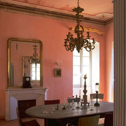 Pink Dining Room Check Out The Ceiling Details