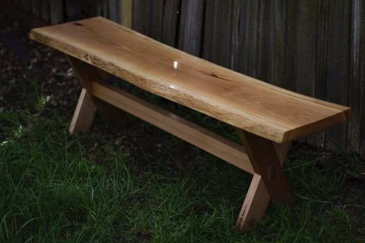 Live edge bench complete with wedged mortise and tenon joints. goodwithwood