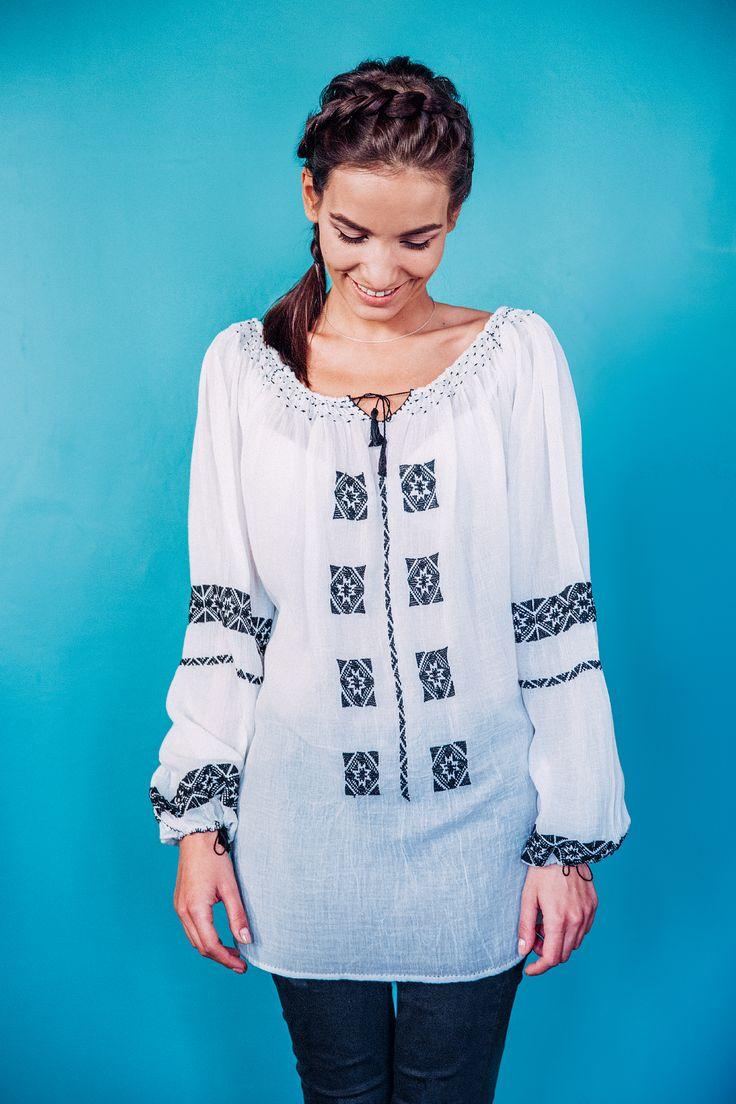 100% handmade Romanian blouse, embroidered on the sleeves and front  with black thread.  Price: 450 lei (100 EUR) Details on:  facebook.com/singularRO singularwear@yahoo.com #singular #readytowear #fashion #limitededition #romanianblouse #urban