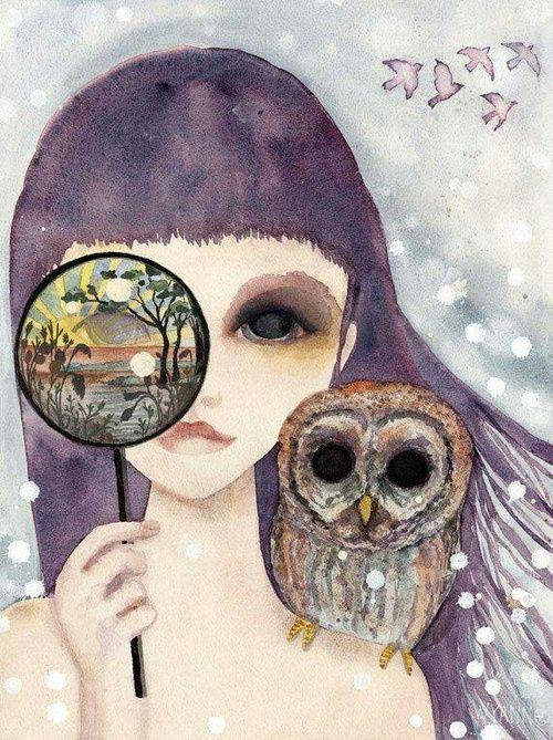Imagen de art, girl, and owl