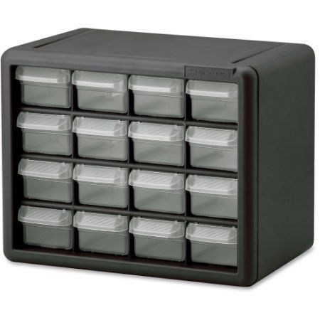 Akro-Mils 16-Drawer Plastic Storage Cabinet - 16 Drawer(s) - 8.5 inch Height x 6.4 inch Width - Floor, Wall Mountable - Black, C