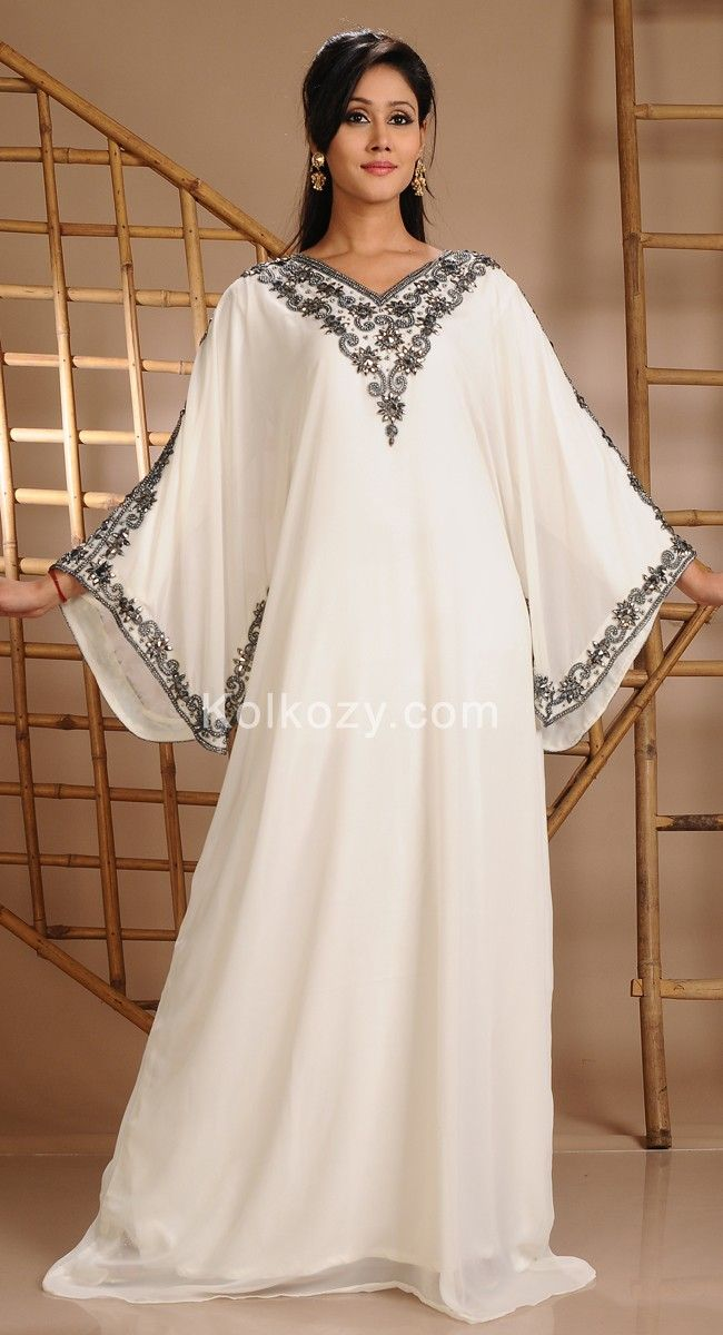 Awesome Off White Color Faux Georgette Modern #Kaftan