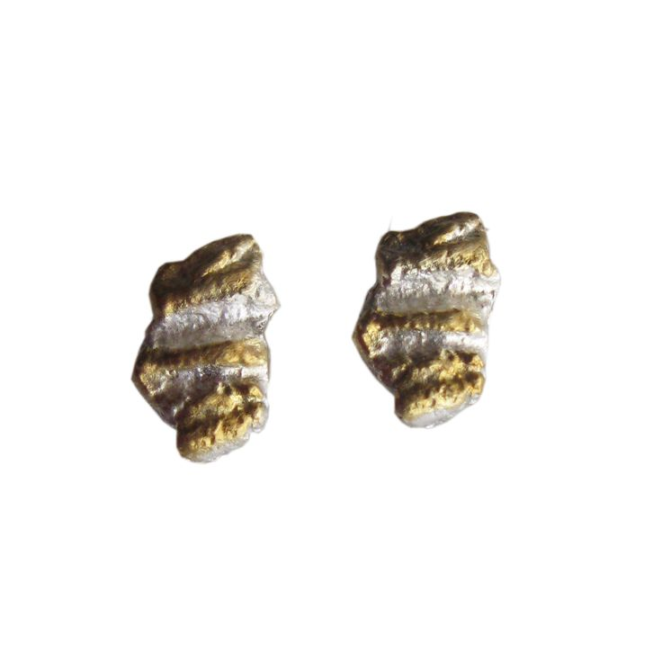 © copyright 2016 Athenart jewelry ~~ Exclusive designs by Athena Papa   Handmade stud earrings with organic texture.Sterling silver -Gold plating 24k
