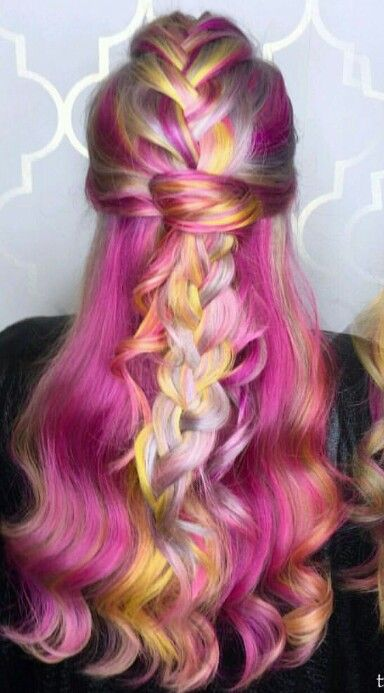 Pink and hints of yellow dyed hair color @hair_princess_steph