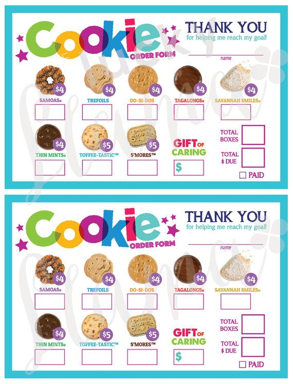 2017 Girl Scout Cookie Order Form Printable by theluckyllamas