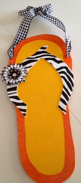 Festive Summer Flip Flop Wooden Door Decor on Etsy, $36.00