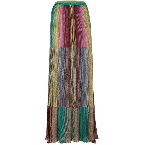 M Missoni Stripe Maxi Skirt (4,145 CNY) ❤ liked on Polyvore featuring skirts, rainbow maxi skirt, long ruffle skirt, maxi skirts, brown maxi skirt and long maxi skirts