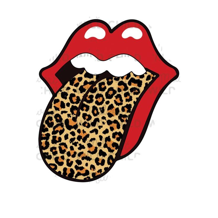 Rolling Stones Lips With Tongue Out Leopard Print Png в 2020 г
