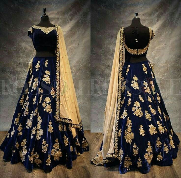 Blue silk thread embroidered dress