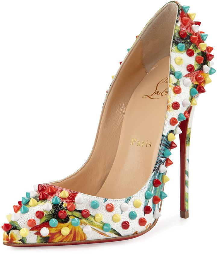 Christian Louboutin Follies Spiked Floral 120mm Red Sole Pump, White/Multi
