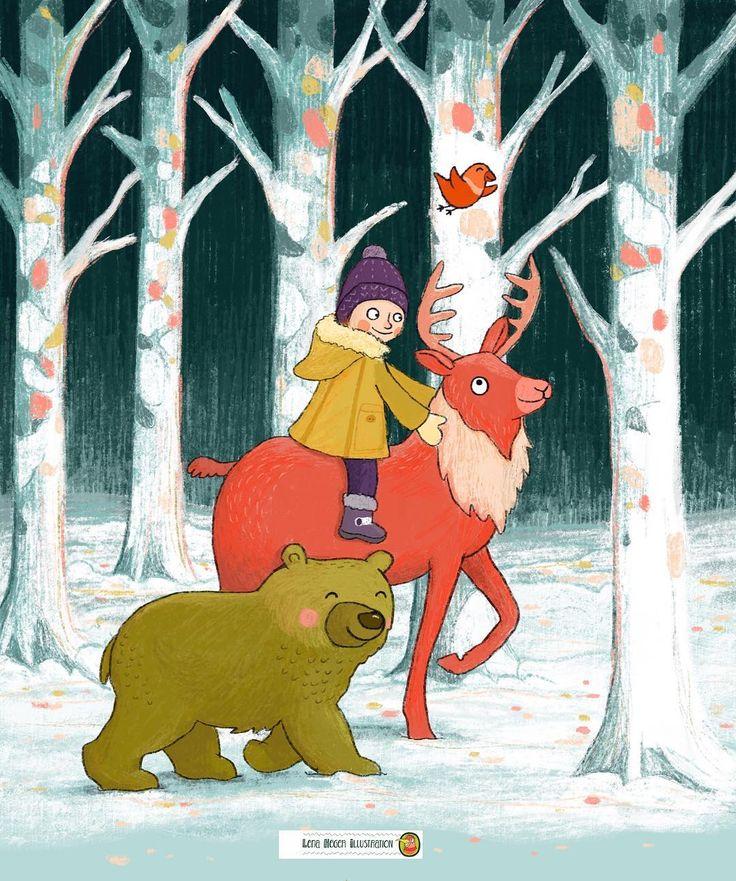 Tiere im Winterwald, Zeichnung, Hirsch, Bär, Kind, Vogel, Schnee, bunt, niedlich, kinderbuch, Lena Heger Illustration für Kinder