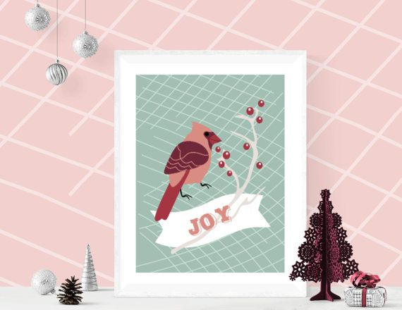 JOY Christmas Poster Robin Bird printable wall art by ArigigiPixel