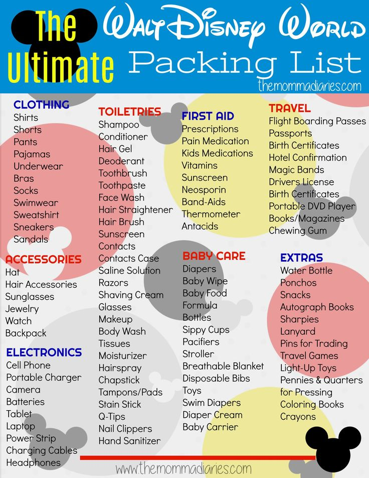 Disney Packing List, Disney World Packing List, Ultimate Disney Packing List