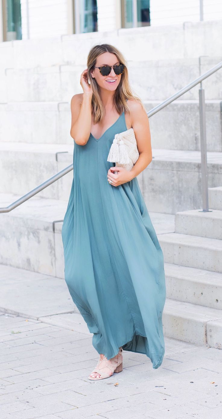 Nordstrom green maxi dress with pockets- coziest maxi dress ever!