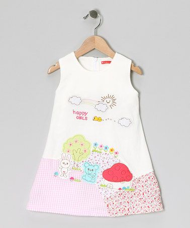 Take a look at this White 'Happy Girls' Dress - Infant & Girls by Maggie Peggy on #zulily today!