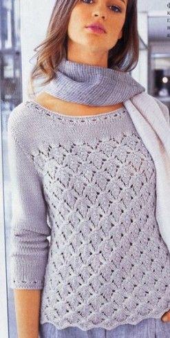 levélmintás pulóver kötése magyarul