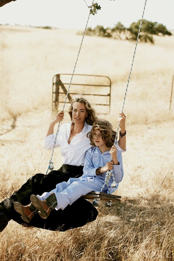 Tatjana Patitz and Jonah Patitz on a swing, photographed by Peter Lindbergh. Vogue 2011.