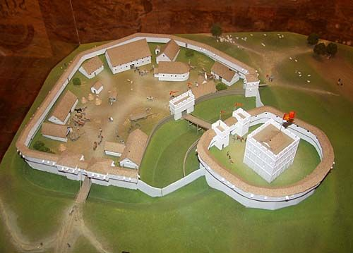 This is what Shrewsbury Castle may have looked like in the 12th century, when it was a classic motte and bailey. This model can be found in Shrewsbury Castle and the Shropshire Regimental Museum. Shrewsbury Castle was first built in 1067 on the orders of William the Conqueror. It was built to protect his newly conquered territory from the Welsh.