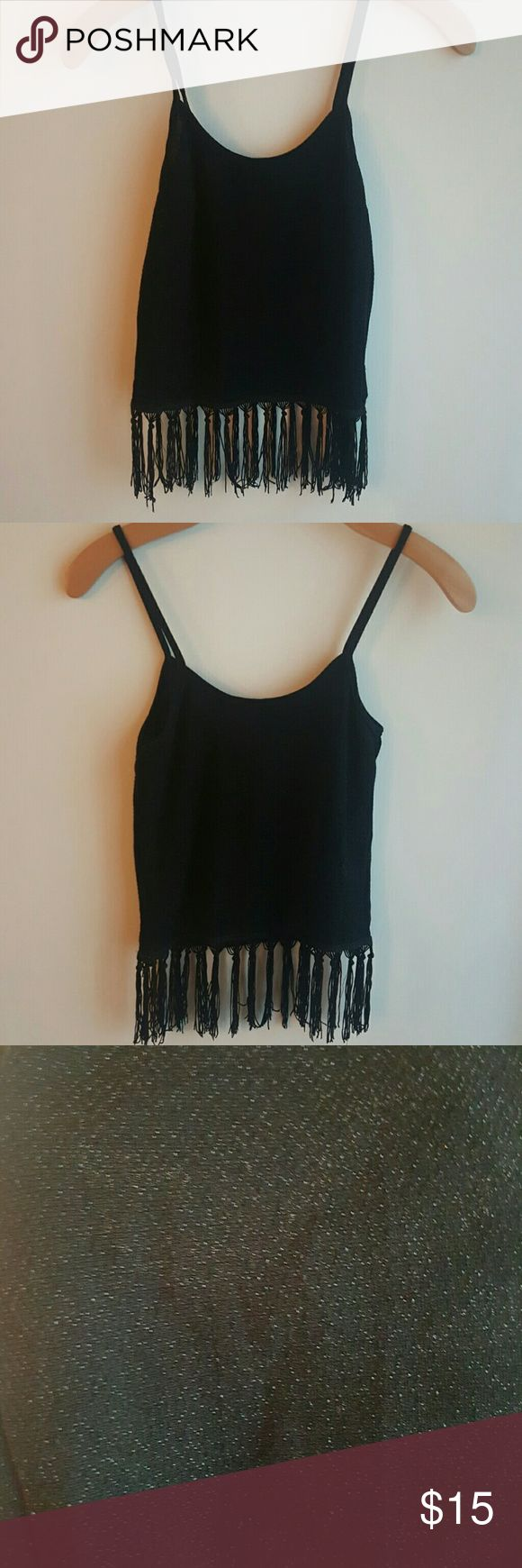 Festival Crop Top Black shimmery festival crop top never worn! With tassle detail. Without tags. Tops Tank Tops