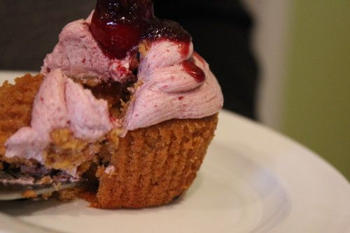 Grown-up Cherry BBQ Jubilee Cupcakes.Recipe and photo by Chef Laura Anhalt for Globe Trekker Chef.