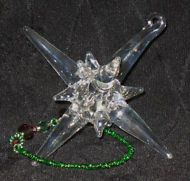 Handblown Glass Star with Swarovski Crystals & Beaded Cord (Green & Red)