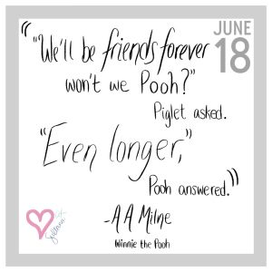 "Winnie the Pooh Quote ""Friends Forever"" 