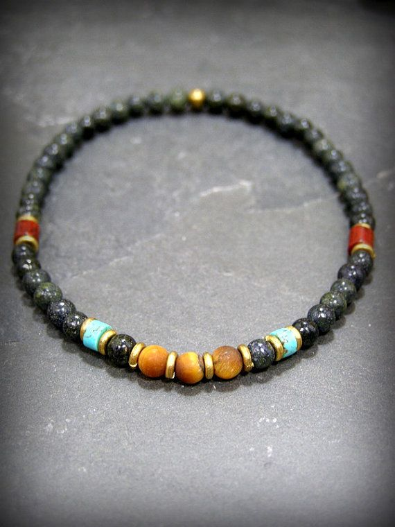 Mens Beaded Bracelet Turquoise Bracelet Mens от StoneWearDesigns