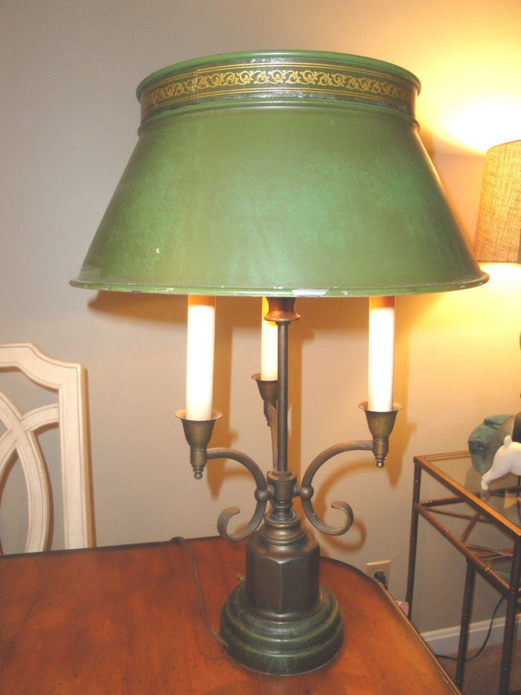 Vintage bouillotte 3 arm brass green leather lamp with tole shade