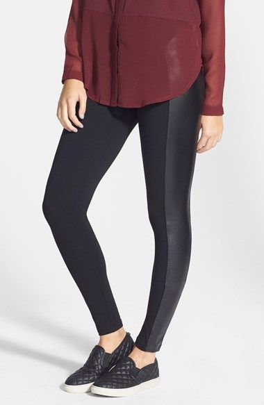 BP. Faux Leather Panel Leggings (Juniors) available at #Nordstrom