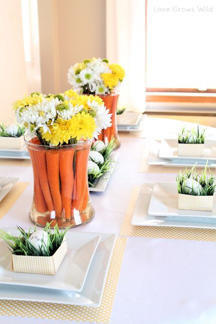 Ideas for a beautiful, spring-inspired tablescape! Includes tutorials for the stamped egg place cards and carrot centerpieces seen here. | LoveGrowsWild.com