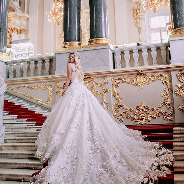Now That Is A Wedding Photo The Dramatic Couture Gowns Designed By Malyarova Olga Are Simply Awe Inspiring Cathedral Length Train On One Of Her Latest