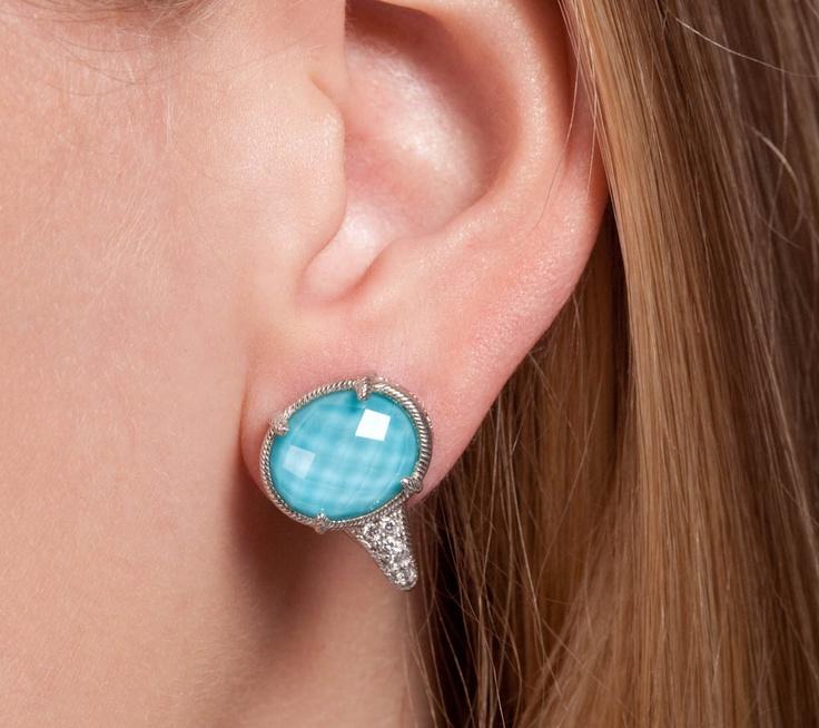 Judith Ripka Sterling Amp Turquoise Doublet Earrings