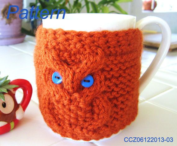Knitting Pattern  Knitted Owl Cup Cozy Tea Mug by OurSunShine, $4.50