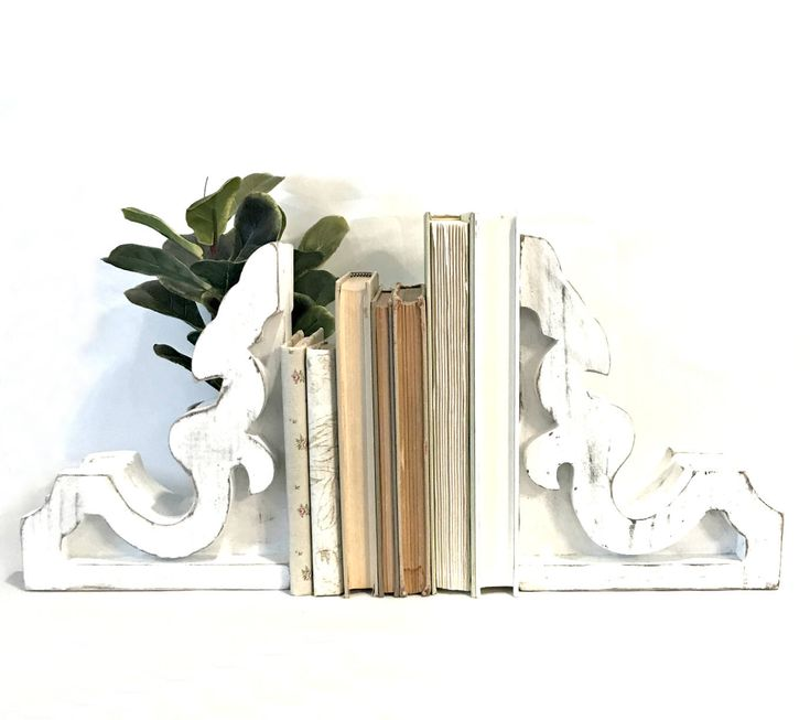 Corbel Bookends SET - Corbel Bookends - White Corbels - Shabby Chic Corbels - Farmhouse Corbel - White Corbel - Corbels - Corbel - Decor by ThatsWhatIWantDecor on Etsy https://www.etsy.com/listing/507688402/corbel-bookends-set-corbel-bookends