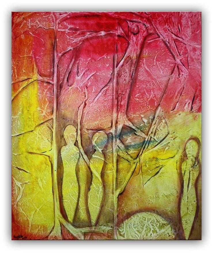 Burgstaller Acrylbild abstrakte Malerei Figuren Wandbild rot gelb Leinwand 50x60