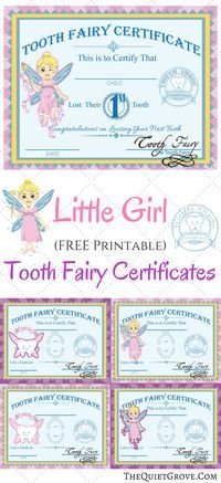 Love these Little Girl Printable Tooth Fairy Certificates!