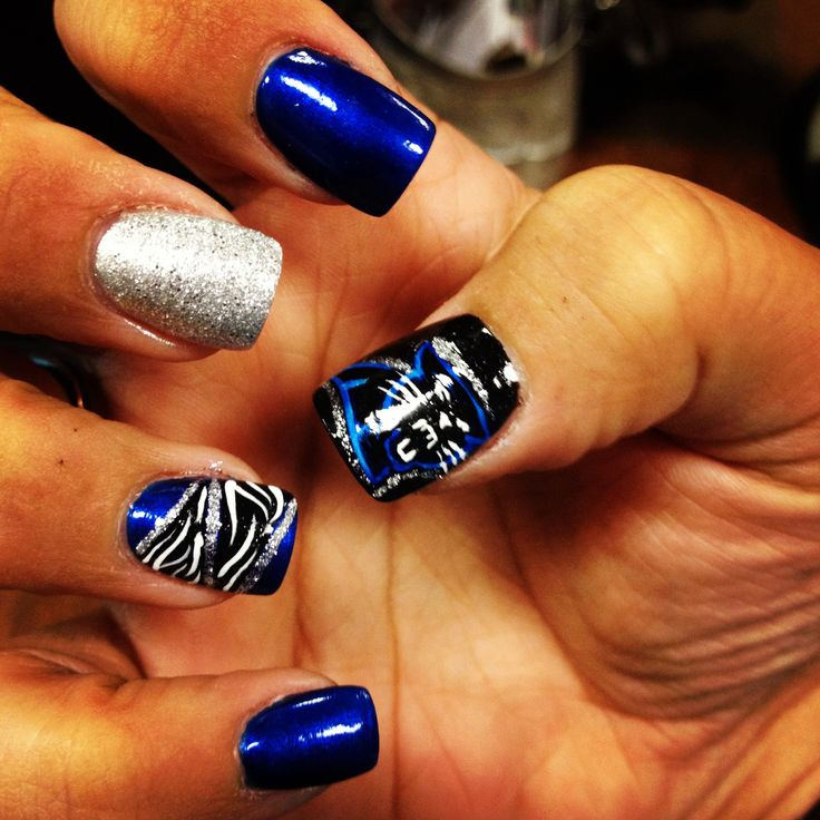 My Carolina panther nails - 47 Best Carolina Panthers Makeup Hair & Nails Images On Pinterest