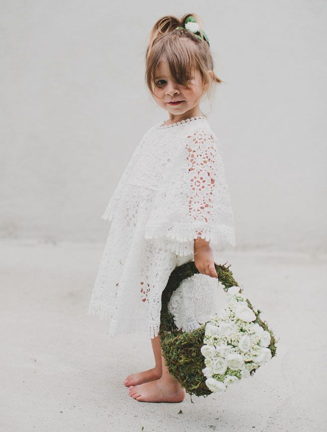 Bohemian Wedding Flower Girl Ideas.  DIY moss flower girl basket, designed by Green Wedding Shoes.  Use this unique moss purse to create an adorable flower girl basket for your boho wedding.