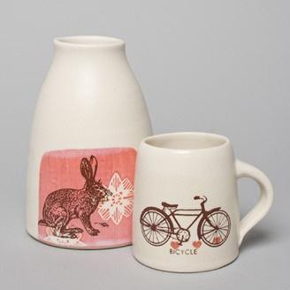 Ceramic Vase and Mug by Cathy Terepocki -Saskatoon SK. Member of the Alberta Craft Council.