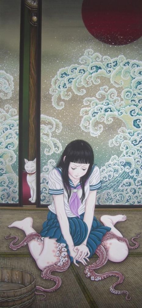 "An erotic painting by Japanese artist, Yuji Moriguchi.    ""Tentacle erotica"" has been a theme present in Japanese pornography and erotica at least since the early 1800s. The trend is still common in Japanese manga where your eyes are often treated to illustrated interpretations of what it's like for an octopus to force itself sexually on an unwilling female. Tokyo-based artist Yuji Moriguchi brings together both the ancient art of ""Shunga"" (Japanese erotic art) and modern Manga to create…"
